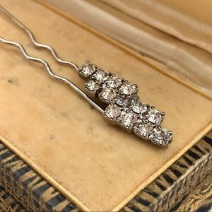 Vintage Rhinestone Triple Row Fancy Hair Pin